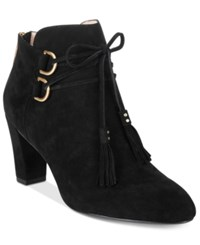 Taryn Rose Tr Trisha Lace Up Ankle Booties Women's Shoes Black Suede