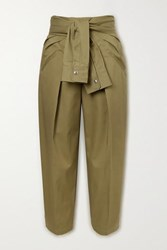 Alexander Wang Tie Front Cotton Twill Tapered Pants Army Green