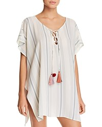 Surf Gypsy Striped Tunic Swim Cover Up White