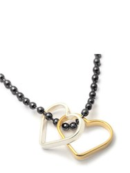 Seeme Two Small Hearts On Army Chain Silver