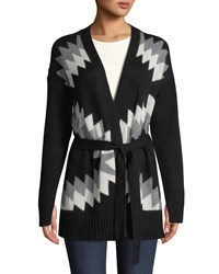 360 Sweater Moxie Belted Zigzag And Skull Intarsia Wool Cashmere Cardigan Black Pattern