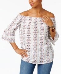 Style And Co Embroidered Off The Shoulder Cotton Top Only At Macy's Aztec Stripe White