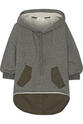 3.1 Phillip Lim Layered Cotton Blend And Jersey Hooded Top Gray