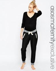 Asos Maternity Lounge Denim Look Joggers With Contrast Detail Darkblue