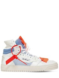 Off White 30Mm Court Leather High Top Sneakers White Blue