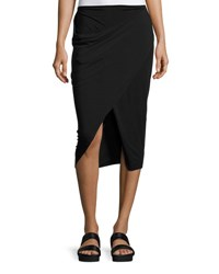 Urban Zen Faux Wrap Midi Skirt Black