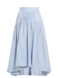 Teija Smocked Dip Hem Striped Cotton Skirt Blue White