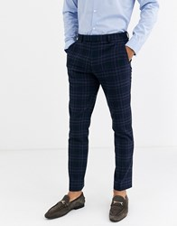 Rudie Heritage Check Skinny Fit Suit Trousers Navy