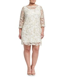 Marina Plus Floral Lace Overlay Dress Gold