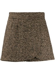 Red Valentino Knitted Layered Shorts Brown