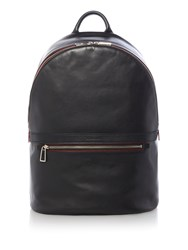 Paul Smith London Dual Zip Leather Backpack Black