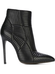Gianni Renzi Quilted Stiletto Ankle Boots Black