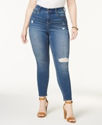 Celebrity Pink Plus Size High Rise Ripped Skinny Ankle Jeans Miro