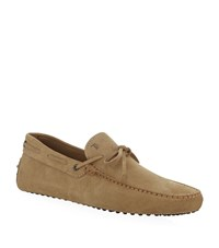 Tod's Laced Gommino Suede Driving Shoe Male