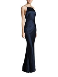 Jason Wu Sleeveless Satin Gown Navy