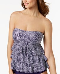 Island Escape Mikonos Beach Tiered Bandeau Tankini Top Created For Macy's Swimsuit Blue White