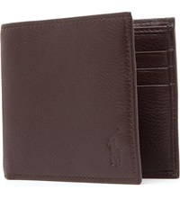 Ralph Lauren Pony Embossed Pebbled Leather Wallet Brown
