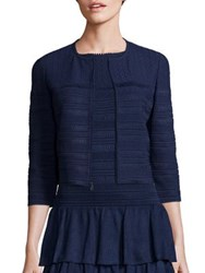 St. John Embossed Knit Cropped Cardigan Navy