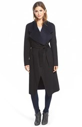 Women's Elie Tahari 'Milano' Long Wrap Coat Black Navy