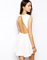 Glamorous Floral Embossed Skater Dress With Open Back Cream
