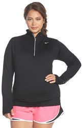 Plus Size Women's Nike 'Element' Dri Fit Half Zip Running Top Black