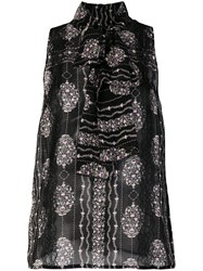 Giambattista Valli Sleeveless Floral Blouse Women Silk Polyamide Viscose 42 Black