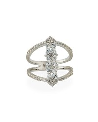 Jude Frances Silver Open Flower Pave Ring Size 6.5