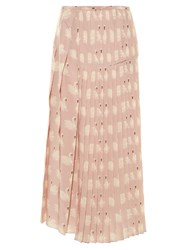 Stella Mccartney Swan Print Pleated Silk Midi Skirt Light Pink