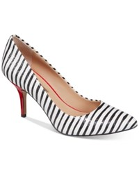 Inc International Concepts Womens Zitah Pointed Toe Pumps Only At Macy's Women's Shoes Black And White Stripe