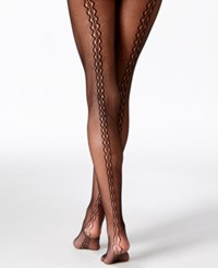 Hanes Silk Reflections Backseam Fishnet Tights Black
