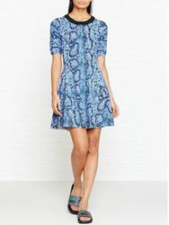 Kenzo Snake Print Fit And Flare Dress Green