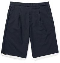 Raf Simons Pleated Wool And Cotton Canvas Shorts Navy