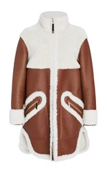Maison Ullens Long Sleeve Shearling Coat Brown