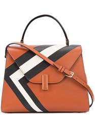 Valextra Contrast Stripe Tote Women Leather One Size Brown