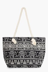 Boohoo Elephant Aztec Print Beach Bag Black
