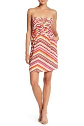 Charlie Jade Print Silk Strapless Sheath Dress Pink