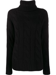 Nili Lotan Roll Neck Cable Knit Sweater Black
