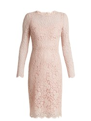 Dolce And Gabbana Long Sleeved Cordonetto Lace Dress Light Pink
