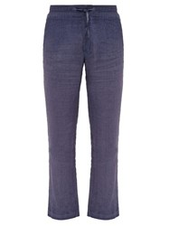 120 Lino Straight Leg Linen Trousers Navy