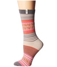 Ugg Merino Wool Stripe Crew Socks Pink Azalea Women's Crew Cut Socks Shoes
