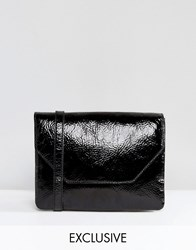 Monki Cracked Patent Lady Bag Black