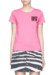 Marc Jacobs X Mtv Sequin Logo Jersey T Shirt Pink