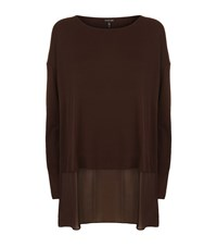 Eileen Fisher Layered Batwing T Shirt Female Brown