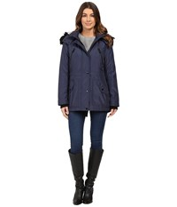 Jessica Simpson Anorak Quilted Bonded W Hood And Faux Fur Indigo Women's Coat Blue