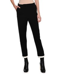 Alexander Mcqueen High Waist Double Contrast Hem Cigarette Pants Black