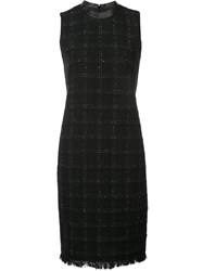 Akris Punto Checked Fitted Dress Black