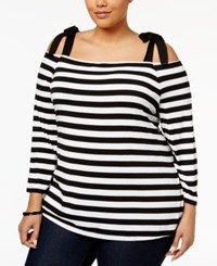Inc International Concepts Plus Size Striped Cold Shoulder Top Only At Macy's Deep Black