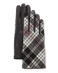 Portolano Plaid Cashmere Back Leather Gloves Grey Red