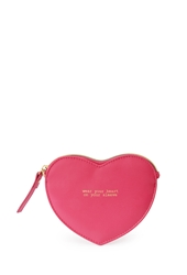 Forever 21 Heart Shaped Faux Leather Pouch Pink