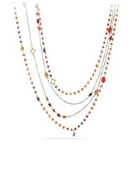 David Yurman Bead And Chain Necklace With Carnelian Garnet And 18K Gold Multi